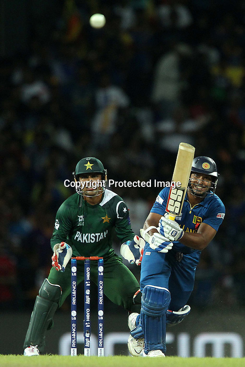 Kumar Sangakkara during the ICC World Twenty20 semi final match between Sri Lanka and Pakistan held at the Premadasa Stadium in Colombo, Sri Lanka on the 4th October 2012<br /> <br /> Photo by Ron Gaunt/SPORTZPICS