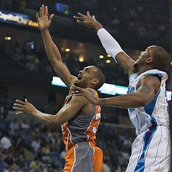 08 April 2009: Phoenix Suns forward Grant Hill (33) shoots over New Orleans Hornets forward David West (30) during a NBA game between the New Orleans Hornets and the Phoenix Suns at the New Orleans Arena in New Orleans, Louisiana.
