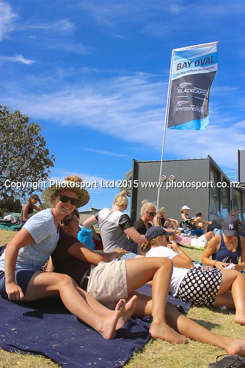Spectators at Bay Oval. New Zealand White Ferns v England - 3rd ODI at Bay Oval, Mount Maunganui, New Zealand. 15 February 2015. Photo credit: Margot Butcher/www.photosport.co.nz