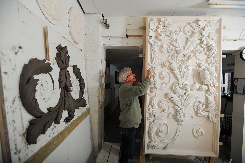Picture By Jim Wileman  16/09/2009  Geoffrey Preston, a decorative plasterer, pictured at his studio in Exeter, Devon. RE:  Jon Henley, disappearing acts piece.