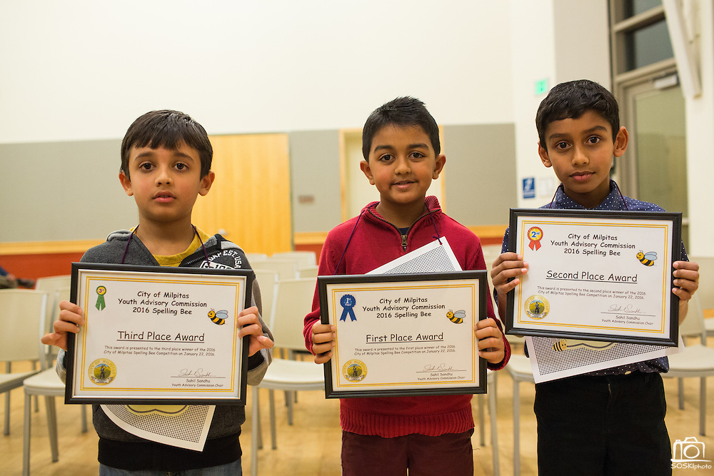 First through Third grade winners, Daksh Sharma, left, third place, Krish Shah, center, first place, and Jibril Asif Moinuddin, right, second place, pose for a photo during the 2016 Milpitas Youth Spelling Bee at the Milpitas Senior Center in Milpitas, California, on January 22, 2016. Due to the enrollment in the first through third grade category, two separate Spelling Bees had to be held. (Stan Olszewski/SOSKIphoto)