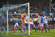 Portsmouth Defender, Christian Burgess (6) wins a header at the far post during the EFL Sky Bet League 1 match between Portsmouth and Rotherham United at Fratton Park, Portsmouth, England on 3 September 2017. Photo by Adam Rivers.