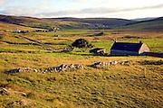 Late afternoon crofting landscape Wethersta, Mainland, Shetland Islands, Scotland