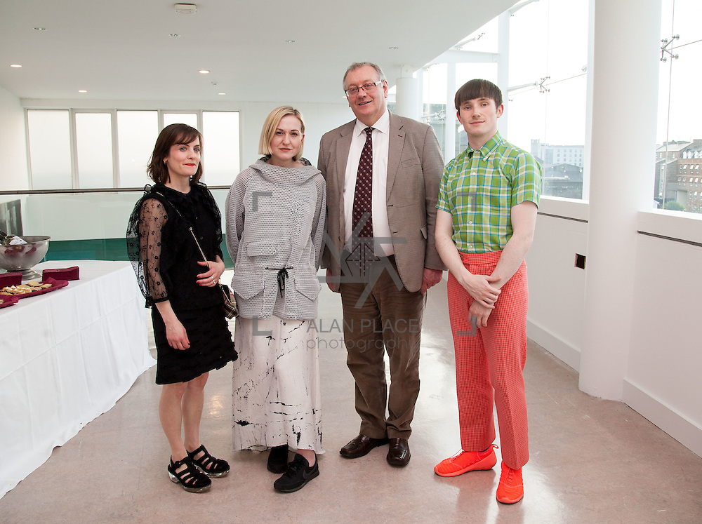 13.05.2016.           <br /> Aisling Farinella, Stylist, Gemma Williams, Fashion Curator, Terry Toomey, Acting President LIT and Richard Malone, Designer pictured at the much anticipated Limerick School of Art & Design, LIT, (LSAD) Graduate Fashion Show on Thursday 12th May 2016. The show took place at the LSAD Gallery where 27 graduates from the largest fashion degree programme in Ireland showcased their creations. Ranked among the world's top 50 fashion colleges, Limerick School of Art and Design is continuing to mould future Irish designers.. Picture: Alan Place/Fusionshooters