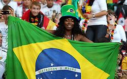GER, Commerzbank Arena, GER, Stuttgart, FSP, LS, Deutschland (GER) vs Brasilien (BRA), im Bild .. Brasilianerin mit Fahne / Fan Braslilien // durch the friendly ship between Germany (GER) vs Brasil (BRA) in Commerzbank Arena, Stuttgart, on 2011/08/11 EXPA Pictures © 2011, PhotoCredit: EXPA/ nph/  Hessland       ****** out of GER / CRO  / BEL ******