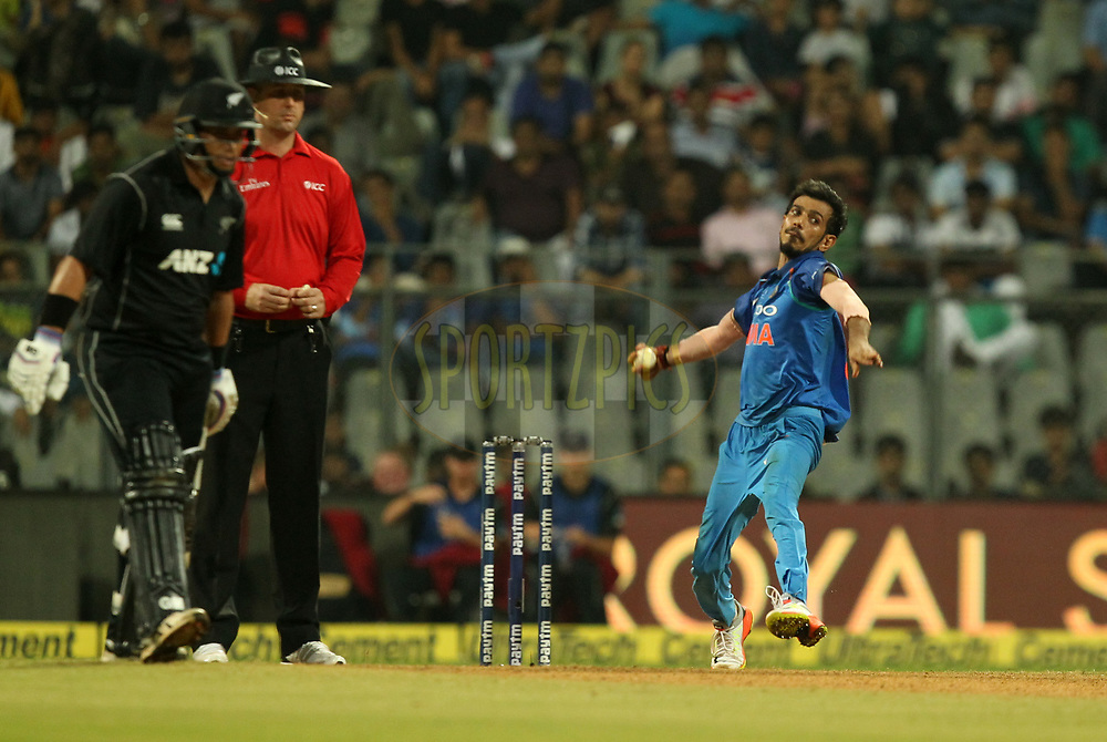 Yuzvendra Chahal of India during the 1st One Day International match between India and New Zealand held at the Wankhede Stadium in Mumbai on the 22nd October 2017Photo by Prashant Bhoot / BCCI / SPORTZPICS