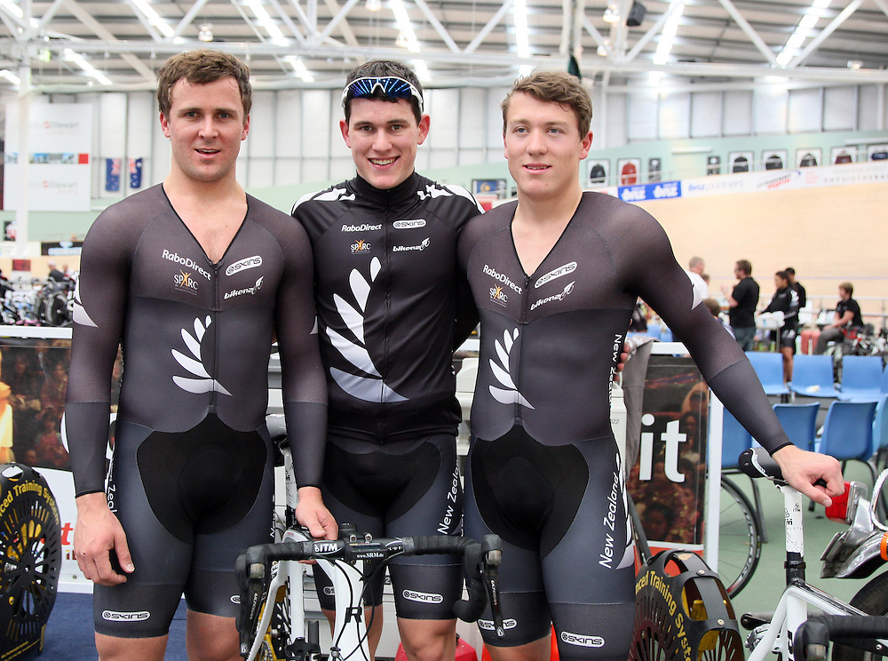 New Zealand's Simon Van Velthooven, left, Sam Webster and Ethan Mitchell after breaking a New Zealand record in the Elite Men's Team Sprint qualifier at the 2012 Oceania Track Cycling Championships,  ILT Velodrome, Invercargill, New Zealand, Monday, November 21, 2011. Credit:SNPA / Dianne Manson.