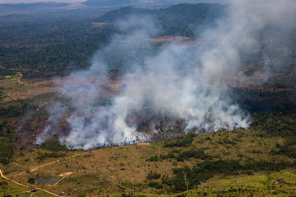 Forest fires set to clear  rainforest from Apyterewa Indian land, near the Sao Felix Do Xingu Municipality, Para State, Brazil, August 13, 2008..Daniel Beltra/Greenpeace