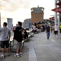 CLEVELAND, OH USA - JULY 6: Fans take in the view of Cleveland during the game between the Cleveland Indians and the New York Yankees at Progressive Field in Cleveland, OH, USA on Wednesday, July 6, 2011.