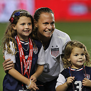Christie Rampone, USA, with daughters Rylie Cate and Reece Elizabeth after the U.S. Women Vs Korea Republic friendly soccer match at Red Bull Arena, Harrison, New Jersey. USA. 20th June 2013. Photo Tim Clayton