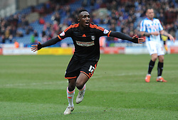 Fulham's Seko Fofana celebrates scoring the second goal  - Photo mandatory by-line: Richard Martin-Roberts/JMP - Mobile: 07966 386802 - 21/03/2014 - SPORT - Football - Huddersfield - John Smith's Stadium - Huddersfield Town v Fulham - Sky Bet Championship