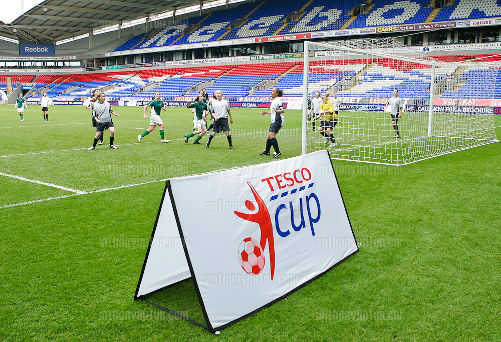 20100516                 Copyright image 2010©.QPR Girls U14 v Newry City Girls U14.Tesco Football Cup Final at the Reebok Stadium in Bolton .Mandatory Credit Ant Upton otherwise additional charges will apply..For photographic enquiries please call Anthony Upton 07973 830 517 or email info@anthonyupton.com .This image is copyright Anthony Upton 2010©..This image has been supplied by Anthony Upton and must be credited Anthony Upton. The author is asserting his full Moral rights in relation to the publication of this image. All rights reserved. Rights for onward transmission of any image or file is not granted or implied. Changing or deleting Copyright information is illegal as specified in the Copyright, Design and Patents Act 1988. If you are in any way unsure of your right to publish this image please contact Anthony Upton on +44(0)7973 830 517 or email: