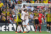 GOAL - Manchester United Forward Romelu Lukaku celebrates with Manchester United Defender Chris Smalling (not in picture) during the Premier League match between Watford and Manchester United at Vicarage Road, Watford, England on 15 September 2018.