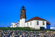 Point Judith Lighthouse and Coast Guard Station, Narragansett, Rhode Island, USA.