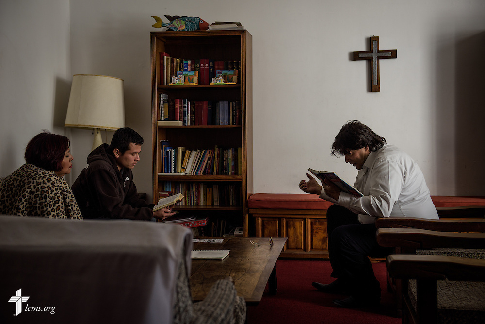 Parishioner Alejandro Arevalo, taught by the Rev. Daniel Conrad and the Rev. Andrew Schlund, LCMS missionaries to Mexico, leads a Bible study at the Lutheran Church of The Good Shepherd on Sunday, Jan. 15, 2017, in Mexico City. LCMS Communications/Erik M. Lunsford