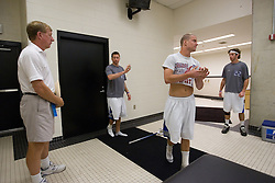 26 May 2007: Duke Blue Devils head coach John Danowski leads his team in extra man offense drills in the locker room before the NCAA semifinals to take on the Cornell Big Red at M&T Bank Stadium in Baltimore, MD.