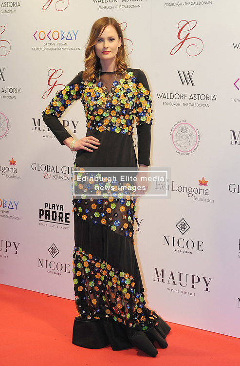 The Global Gift Gala Red Carpet, Wednesday 17th May 2017<br /> <br /> Charlotte De Carle arrive on the red carpet<br /> <br /> The Global Gift Gala is a unique international initiative from the Global Gift Foundation, a charity founded by Maria Bravo that is dedicated to philanthropic events worldwide; to help raise funds and make a difference towards children and women across the globe.<br /> <br /> Charities benefiting from the 2017 Edinburgh Global Gift Gala include the  Eva Longoria Foundation, which aims to improve education and provide entrepreneurial opportunities for young women;  Place2Be which provides emotional and therapeutic services in primary and secondary schools, building children's resilience through talking, creative work and play; and the Global Gift Foundation with the opening of their first 'CASA GLOBAL GIFT', providing medical treatments and therapy for children affected by rare disease.<br /> <br /> (c) Aimee Todd | Edinburgh Elite media