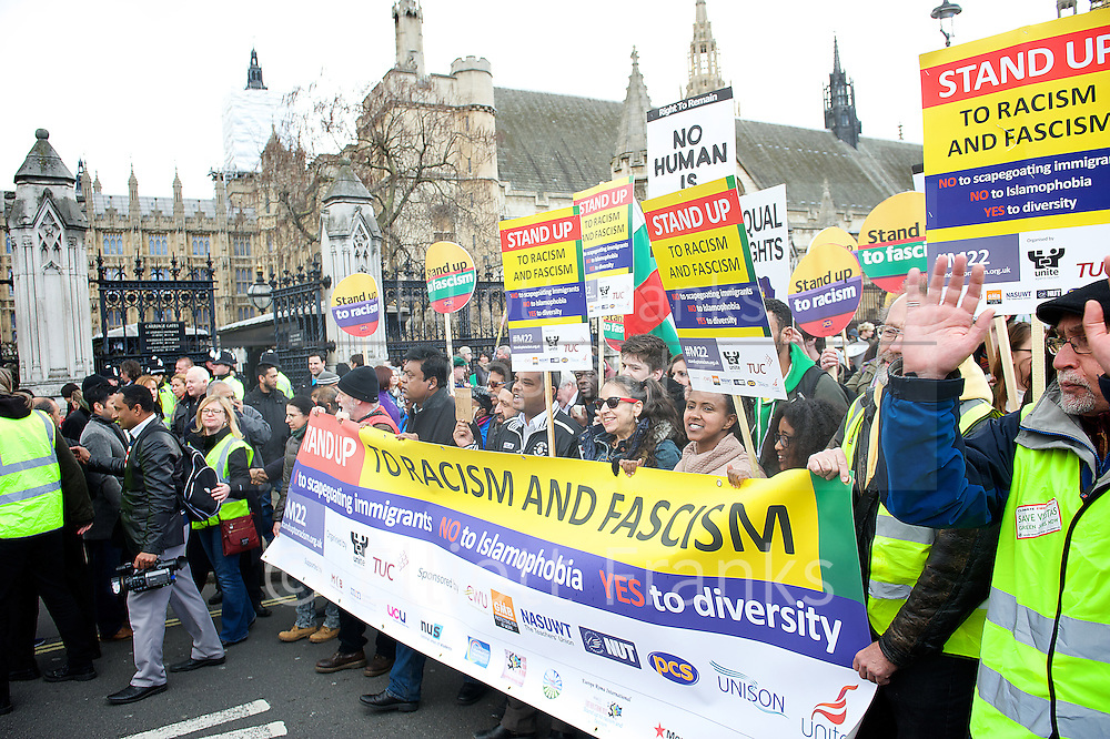 Stand up to Racism and Fascism Rally . Saturday , 22nd March 2014 . Anti racism and fascism march from Westminster to Trafalgar Square. Rally and speeches in Trafalgar Square including Diane Abbott & Jeremy Corbyn MP's. Christine Blower, Lutfur Rahman Mayor of Tower Hamlets, Hugh Manning, Bruce Kent, Picture by Elliott Franks