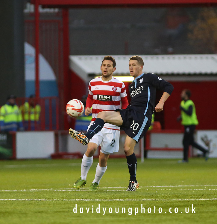 Dundee's Jim McAlister and Hamilton's Tony Andreu -  Hamilton Academical v Dundee, SPFL Premiership at New Douglas Park<br /> <br />  - &copy; David Young - www.davidyoungphoto.co.uk - email: davidyoungphoto@gmail.com