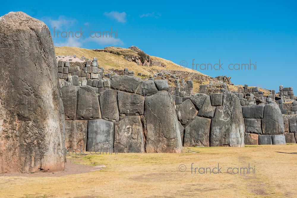 Sacsayhuaman, Incas ruins in the peruvian Andes at Cuzco Peru
