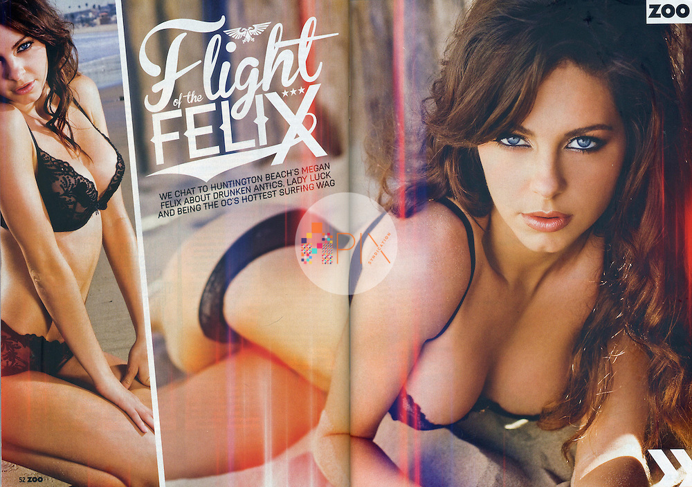 Megan Felix, the sexy girlfriend of pro surfer Timmy Reyes, is featured in the November issue of Zoo Weekly magazine, Australia.  <br /> <br /> Images from our shoot 'Megan Felix', available for worldwide use with approval:  http://www.apixsyndication.com/gallery/Megan-Felix/G0000AbQFvnAc28o/C000053wiQqskH6M