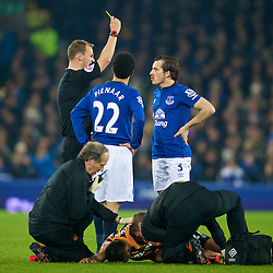 LIVERPOOL, ENGLAND - Wednesday, December 3, 2014: Everton's Leighton Baines is shown a yellow card against Hull City during the Premier League match at Goodison Park. (Pic by David Rawcliffe/Propaganda)