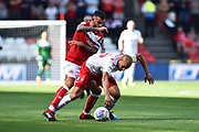 Adlene Guedioura (5) of Nottingham Forset is fouled by Marlon Pack (21) of Bristol City during the EFL Sky Bet Championship match between Bristol City and Nottingham Forest at Ashton Gate, Bristol, England on 4 August 2018. Picture by Graham Hunt.