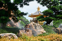 Humidifiers (misters) in a rock garden with golden pagoda, The Pavilion of Absolute Perfection, Nan Lian Garden, Kowloon (Diamon