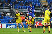 Cardiff City's Callum Paterson clears the ball during the EFL Sky Bet Championship match between Cardiff City and Burton Albion at the Cardiff City Stadium, Cardiff, Wales on 30 March 2018. Picture by John Potts.