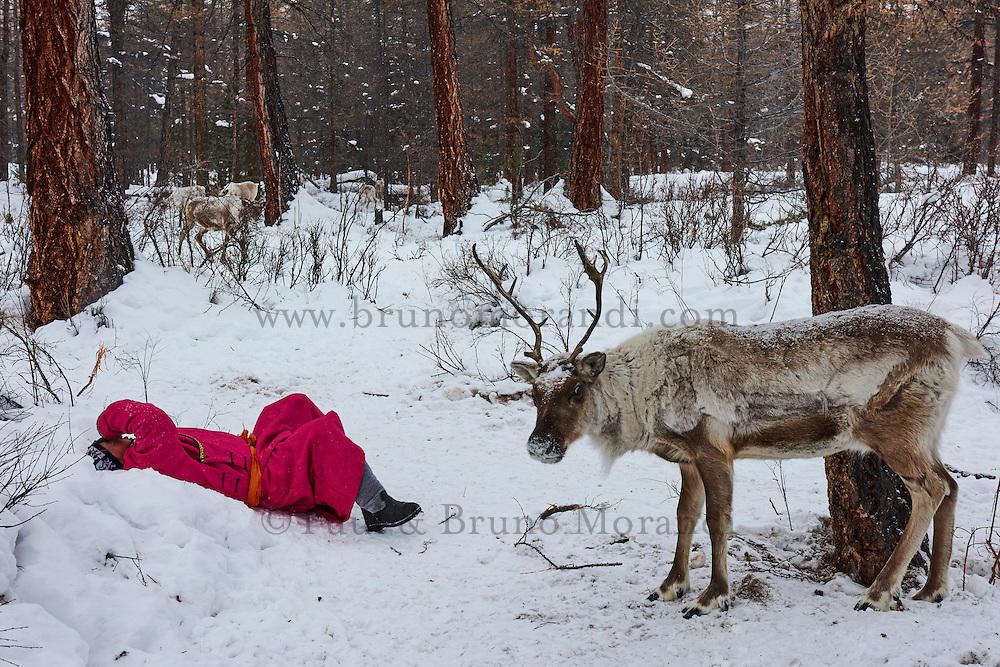 Mongolie, province de Khovsgol, les Tsaatans, éleveurs des rennes, transhumance hivernale, repos // Mongolia, Khovsgol province, the Tsaatan, reindeer herder, winter migration, rest time
