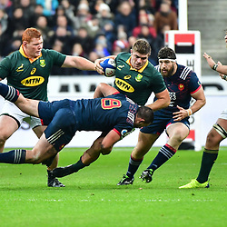 Malcolm Marx of South Africa is tackled by Louis Picamoles of France during the test match between France and South Africa at Stade de France on November 18, 2017 in Paris, France. (Photo by Dave Winter/Icon Sport)