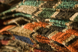 United States, Montana, Livingston, pile of saddle blankets