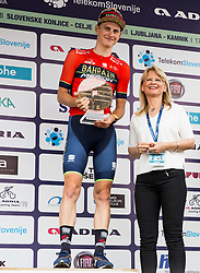 Third placed Matej Mohoric of Bahrain Merida in Overall classification and Maja Pak of STO during trophy ceremony after the 5th Time Trial Stage of 25th Tour de Slovenie 2018 cycling race between Trebnje and Novo mesto (25,5 km), on June 17, 2018 in  Slovenia. Photo by Vid Ponikvar / Sportida
