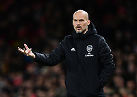 Football - 2019 / 2020 Premier League - Arsenal vs. Brighton & Hove Albion<br /> <br /> Arsenal caretaker manager Freddie Ljungberg shouts instructions to his team from the technical area, at The Emirates.<br /> <br /> COLORSPORT/ASHLEY WESTERN