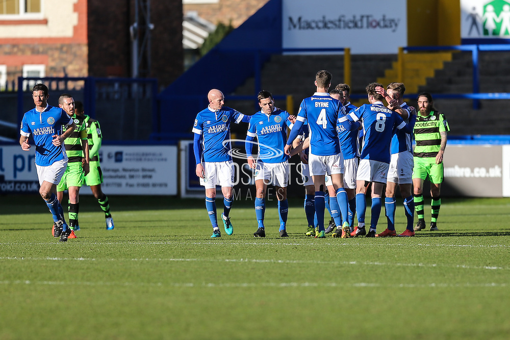 Macclesfield's players celebrate David Whitehead's goal, 1-0 during the FA Trophy match between Macclesfield Town and Forest Green Rovers at Moss Rose, Macclesfield, United Kingdom on 4 February 2017. Photo by Shane Healey.