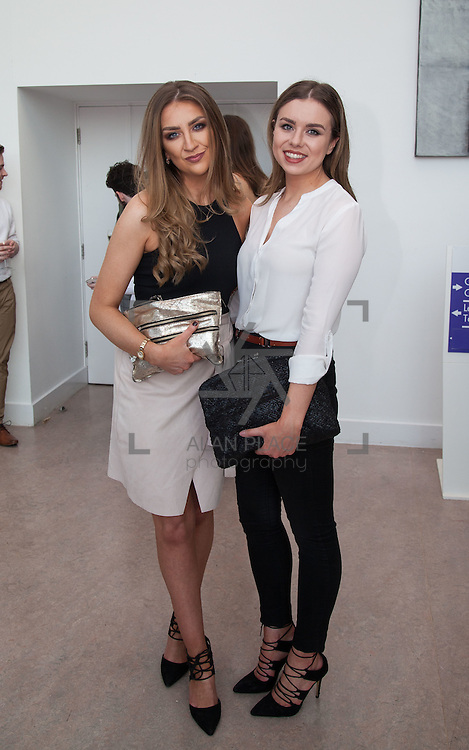 13.05.2016.           <br /> Aoife Sullva, West Meath and Rebecca McDermott, Youhal Co. Cork pictured at the much anticipated Limerick School of Art & Design, LIT, (LSAD) Graduate Fashion Show on Thursday 12th May 2016. The show took place at the LSAD Gallery where 27 graduates from the largest fashion degree programme in Ireland showcased their creations. Ranked among the world's top 50 fashion colleges, Limerick School of Art and Design is continuing to mould future Irish designers.. Picture: Alan Place/Fusionshooters
