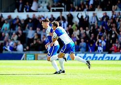 Bristol Rovers' Ollie Clarke celebrates his goal with Bristol Rovers' Lee Mansell - Photo mandatory by-line: Neil Brookman - Mobile: 07966 386802 23/08/2014 - SPORT - FOOTBALL - Bristol - Memorial Stadium - Bristol Rovers v AFC Telford - Vanarama Football Conference