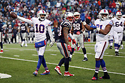 Buffalo Bills wide receiver Robert Woods (10) and Buffalo Bills rookie defensive back Jonathan Dowling (31) signal first down while New England Patriots strong safety Patrick Chung (23) looks for the call from an official during the 2016 NFL week 8 regular season football game against the New England Patriots on Sunday, Oct. 30, 2016 in Orchard Park, N.Y. The Patriots won the game 41-25. (©Paul Anthony Spinelli)