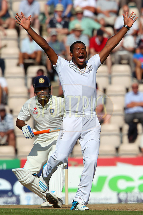 Chris Jordan of England appeals for the wicket of  Mahendra Singh Dhoni captain of India during day three of the third Investec Test Match between England and India held at The Ageas Bowl cricket ground in Southampton, England on the 29th July 2014<br /> <br /> Photo by Ron Gaunt / SPORTZPICS/ BCCI