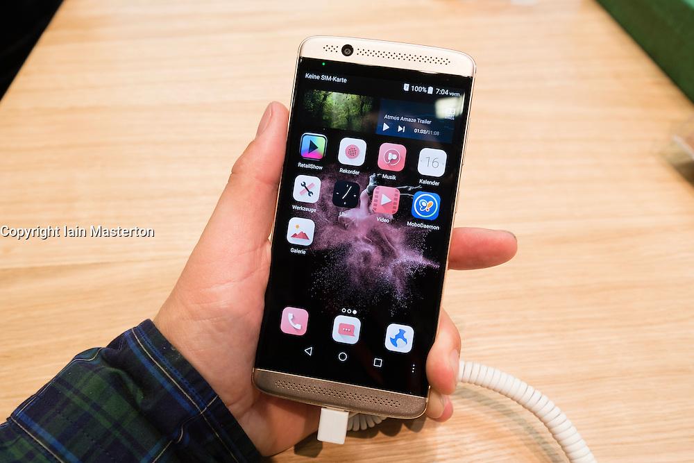 New ZTE Axon 7 smart phone on display at 2016  IFA (Internationale Funkausstellung Berlin), Berlin, Germany