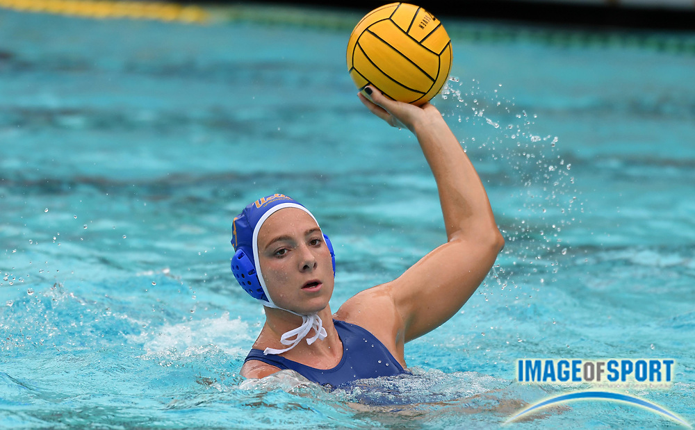 UCLA Bruins attacker  Lizette Rozeboom (3) against the Pacific Tigers during an NCAA college women's water polo quarterfinal game in Los Angeles, Friday, May 11, 2018. UCLA defeated Pacific, 8-4.