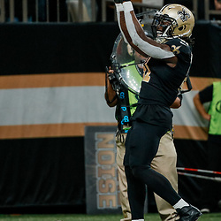 Sep 16, 2018; New Orleans, LA, USA; New Orleans Saints running back Alvin Kamara (41) celebrates after scoring on a two point conversion during the fourth quarter of a game  against the Cleveland Browns at the Mercedes-Benz Superdome. The Saints defeated the Browns 21-18. Mandatory Credit: Derick E. Hingle-USA TODAY Sports