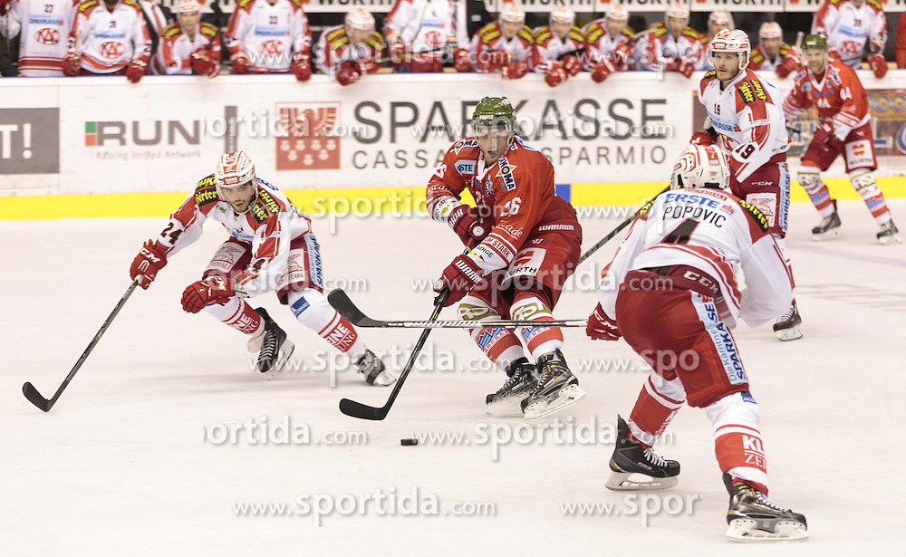 04.10.2015, Eiswelle, Bozen, ITA, EBEL, HCB Suedtirol vs EC KAC, 8. Runde, im Bild v.l. Steven Strong (EC KAC), Joel Broda (HCB Suedtirol), Mark Popovic (EC KAC) // during the Erste Bank Icehockey League 8th round match between HCB Suedtirol and EC KAC at the Eiswelle in Bozen, Italy on 2015/10/04. EXPA Pictures © 2015, PhotoCredit: EXPA/ Johann Groder