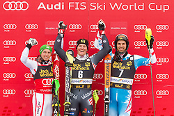 Second placed HIRSCHER Marcel  of Austria, winner KOSTELIC Ivica  of Croatia and third placed MATT Mario  of Austria celebrate at trophy ceremony after the 10th Men's Slalom - Pokal Vitranc 2013 of FIS Alpine Ski World Cup 2012/2013, on March 10, 2013 in Vitranc, Kranjska Gora, Slovenia. (Photo By Vid Ponikvar / Sportida.com)