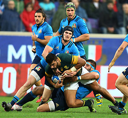 November 19, 2016 - Rome, Italy - Simone Favaro (I) tackling on Damian de Allende (S)  during the international match between Italy v South Africa at Stadio Olimpico on November 19, 2016 in Rome, Italy. (Credit Image: © Matteo Ciambelli/NurPhoto via ZUMA Press)
