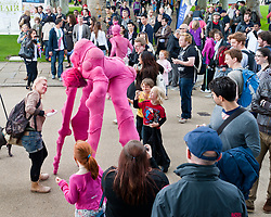 "© Licensed to London News Pictures. 24/06/2012. London, UK.  Aliens land in Greenwich.  ""The Invasion"" is a Slovenian street theatre act comprising of pink aliens which roam around Greenwich as part of Greenwich Fair.  Greenwich Fair is a part of the Greenwich & Docklands International Festival, taking place between 21-30 June.  Photo credit : Richard Isaac/LNP"
