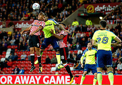 James Vaughan of Sunderland challenges Bradley Johnson of Derby County - Mandatory by-line: Matt McNulty/JMP - 04/08/2017 - FOOTBALL - Stadium of Light - Sunderland, England - Sunderland v Derby County - Sky Bet Championship