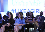Actress Maisie Williams, center, reacts to the newest Always  #LikeAGirl Unstoppable video at the Confidence Summit, Tuesday, July 7, 2015, in New York.  The new Always video encourages girls to smash any limitation that holds them back and aims to make them strong, confident and unstoppable.  View the new video at https://youtu.be/VhB3l1gCz2E.  (Photo by Diane Bondareff/AP Images for Always)