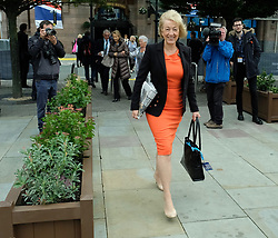 (c) Licensed to London News Pictures. <br /> 02/10/2017<br /> Manchester, UK<br /> <br /> Andrea Leadson walks from the Midland Hotel during the Conservative Party Conference at the Manchester Central Convention Complex.<br /> <br /> Photo Credit: Ian Forsyth/LNP