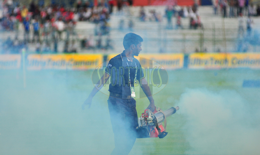 Ground staff spray during match 30 of the the Indian Premier League ( IPL) 2012  between The Rajasthan Royals and the Royal Challengers Bangalore held at the Sawai Mansingh Stadium in Jaipur on the 23rd April 2012Photo by Arjun Panwar/IPL/SPORTZPICS